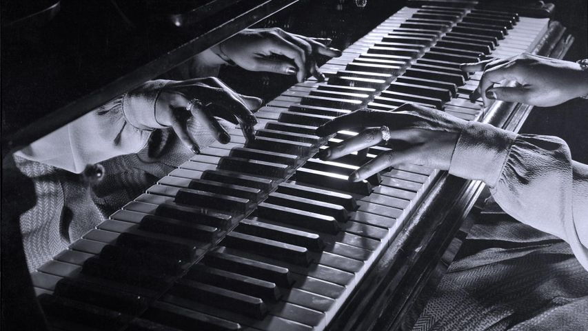 Close-up of the hands of jazz pianist Mary Lou Williams during a jam session held in New York City, 1943