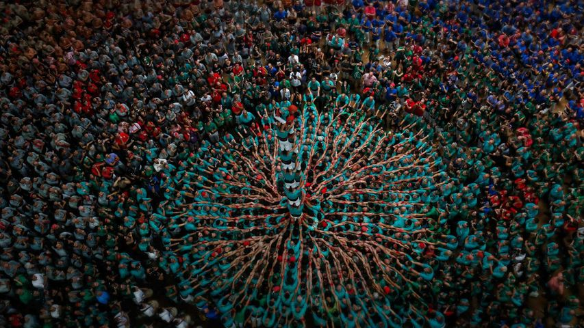 Performers at the 26th Human Tower Competition in Tarragona, Spain