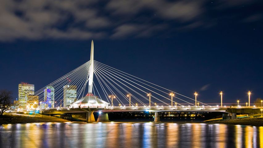 The Esplanade Riel Bridge in downtown Winnipeg