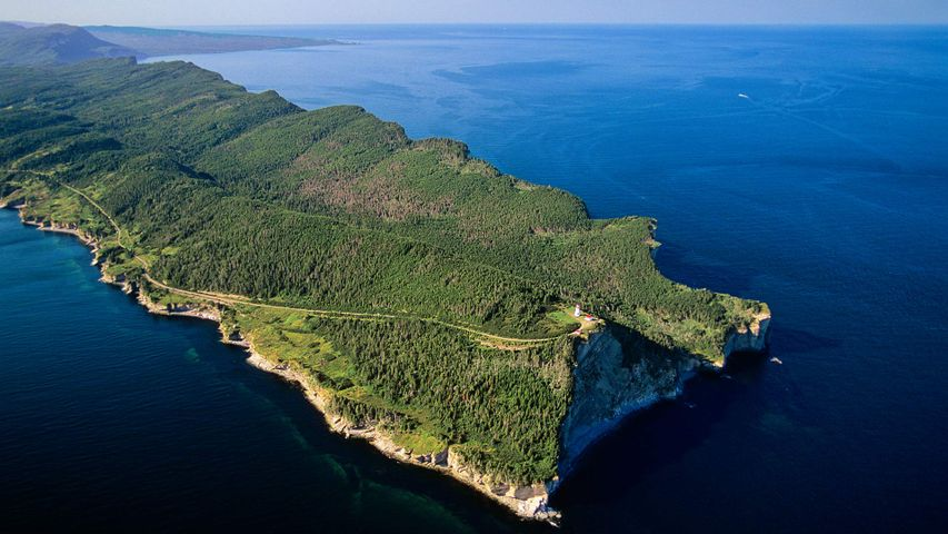 Aerial view of the Gaspe Peninsula, Forillon National Park, Que.