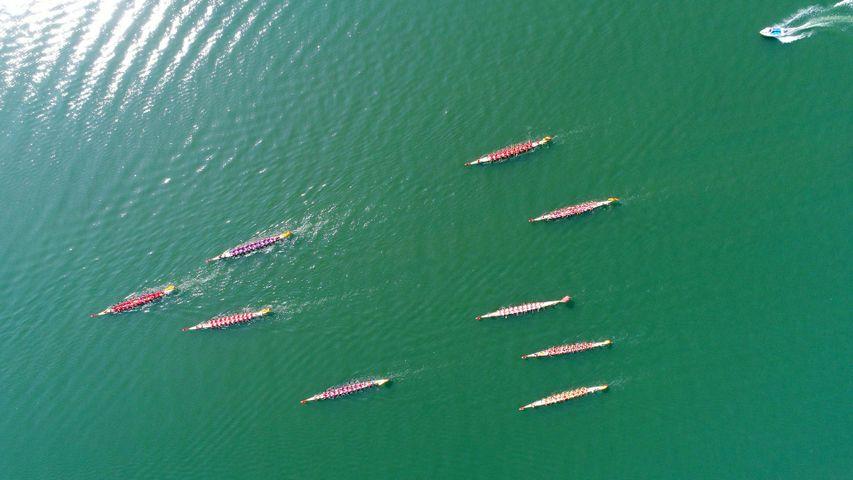 【今日端午节】参加襄阳龙舟大赛的12只龙舟,中国湖北省襄阳市(© VCG/Getty Images)