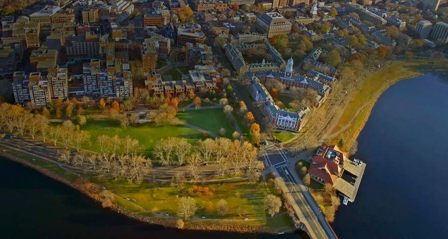An aerial view of Harvard University in Cambridge, Massachusetts