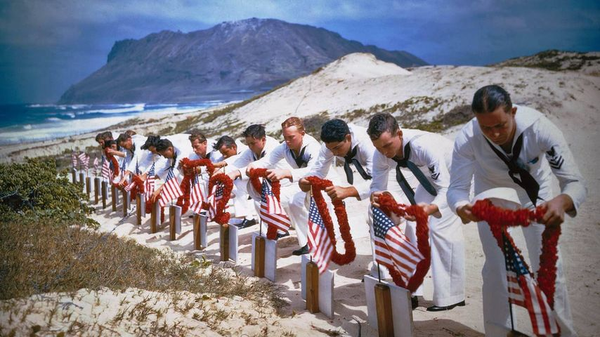 Navy personnel at the first Pearl Harbor Remembrance in 1942, Kaneohe Bay, Hawaii