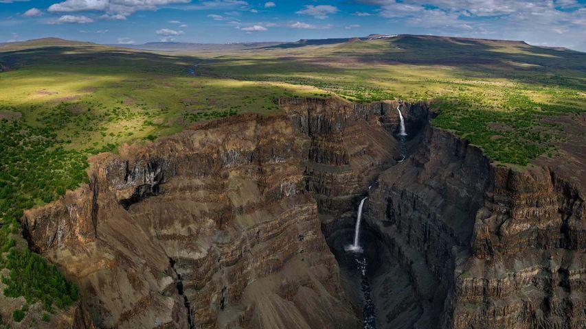 Waterfalls in a canyon of Siberia's Putorana Plateau, Russia