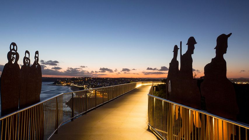 Anzac silhouettes at Newcastle Memorial Walk in Newcastle, New South Wales