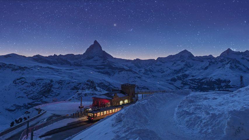 Gornergrat railway station and the Matterhorn in Zermatt, Switzerland