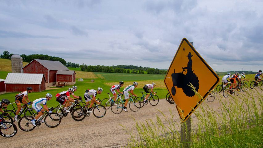 Tour of America's Dairyland racers near Fond du Lac, Wisconsin