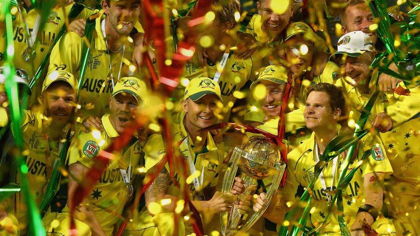 Australian cricket team celebrate at the MCG on Sunday