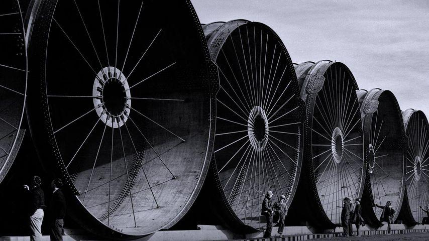 Morceaux de tuyaux destinés au barrage de Fort Peck, Montana, États-Unis
