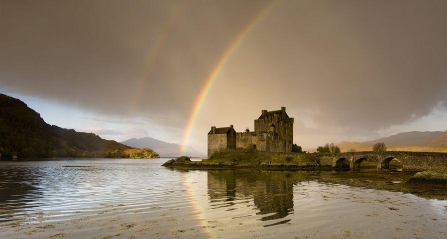 Double rainbow over Eilean Donan Castle, Dornie, Scotland