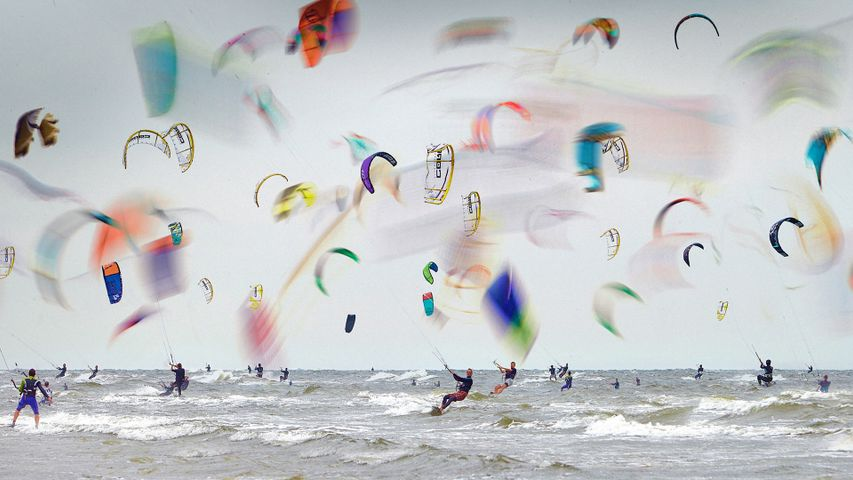 Multiple-exposure image of the Kitesurf World Cup in Germany