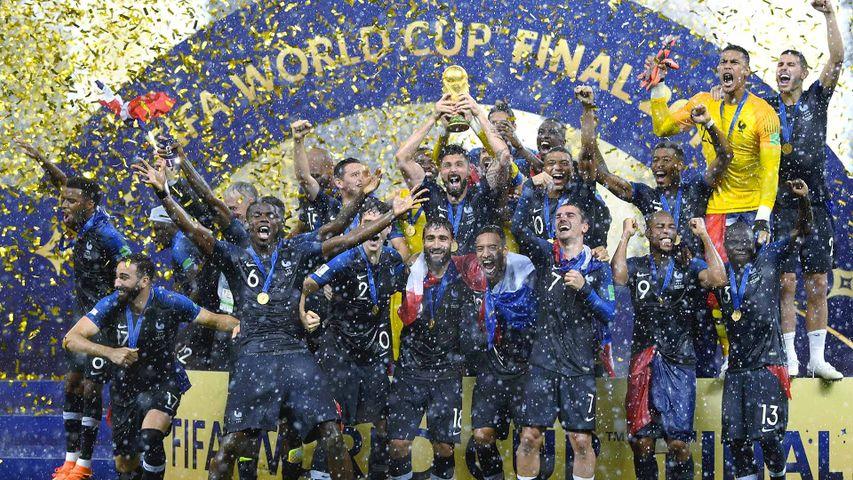 Les Bleus célébrant leur titre de Champions du monde au stade Loujniki, Moscou, Russie