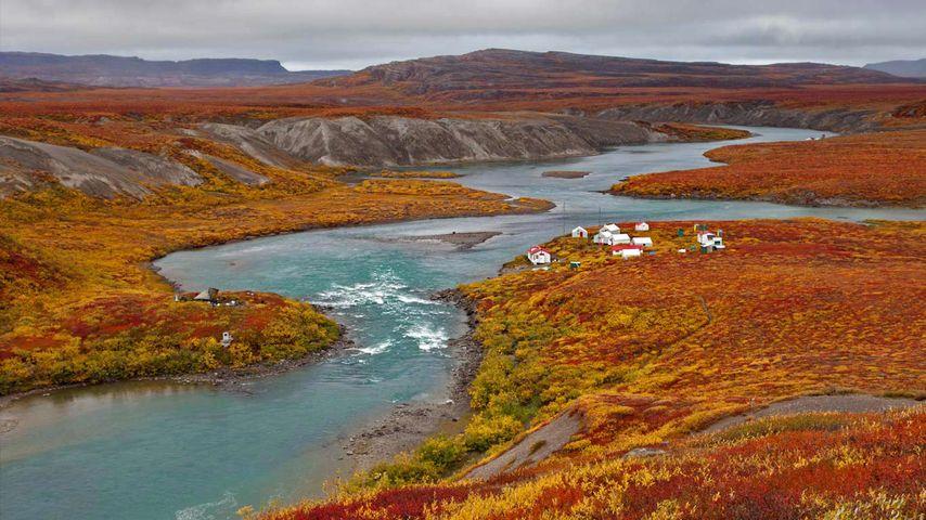 Fishing lodges on the Tree River in the Kitikmeot Region of Nunavut, Canada
