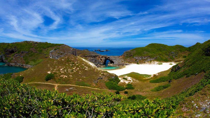 Sea cave and coral sand beach of South Iwo Jima Island (Minami-Iōtō), Japan