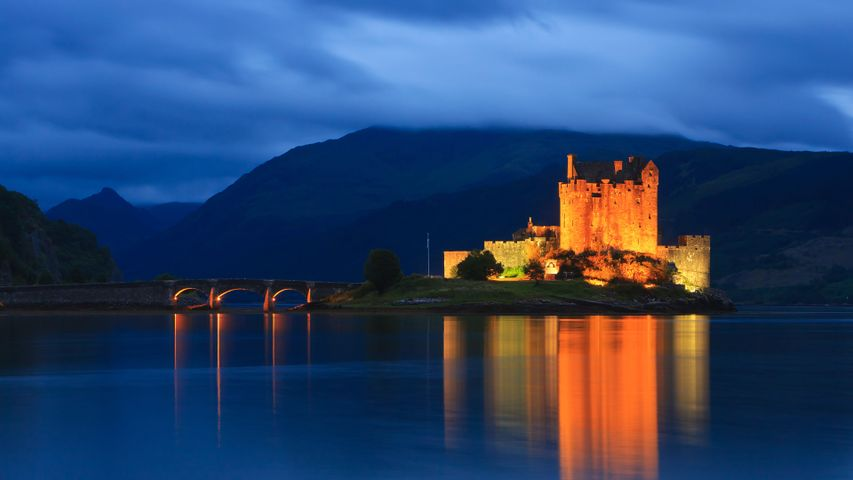 Eilean Donan Castle at the blue hour after sunset, Scotland