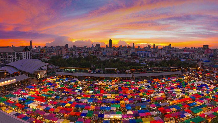 Train Night Market in Ratchada, Bangkok, Thailand