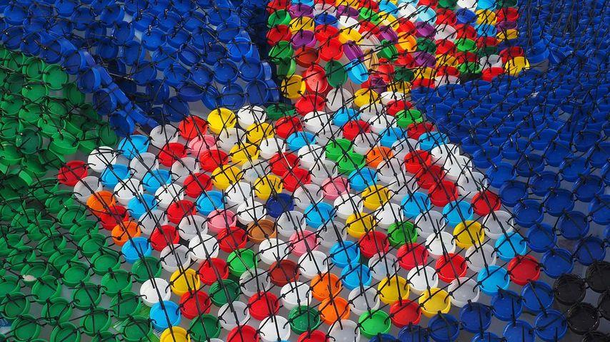 Bottle caps in a sculpture by Kerrie Argent at Cottesloe, Western Australia
