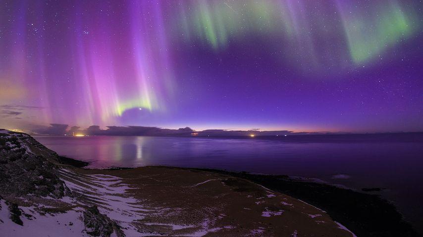 Aurore boréale au-dessus de l'Islande