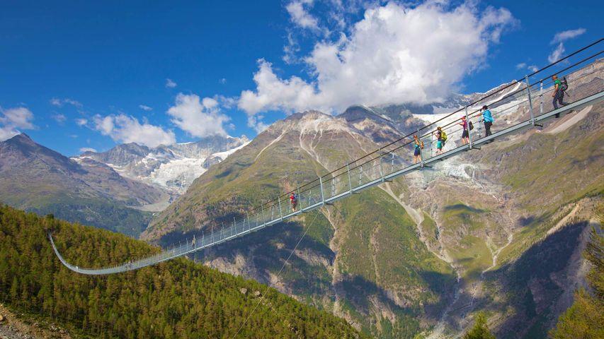 The Charles Kuonen Suspension Bridge near Randa, Switzerland, for Swiss National Day