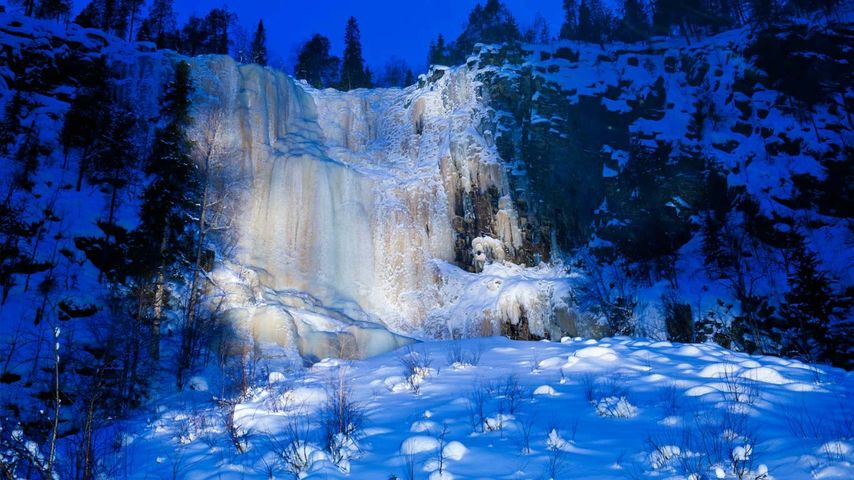 A frozen waterfall in Korouoma, Finland