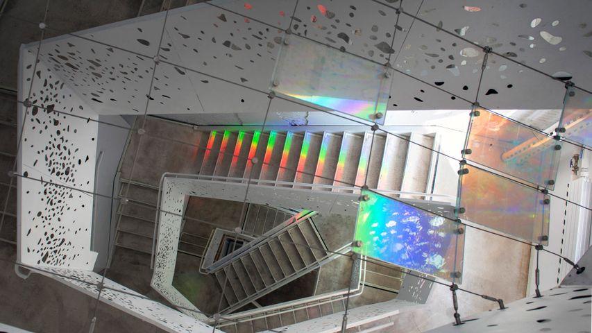 Escalier dans le département de philosophie de l'université de New York, États-Unis
