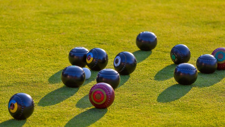 Close-up of a lawn bowling game