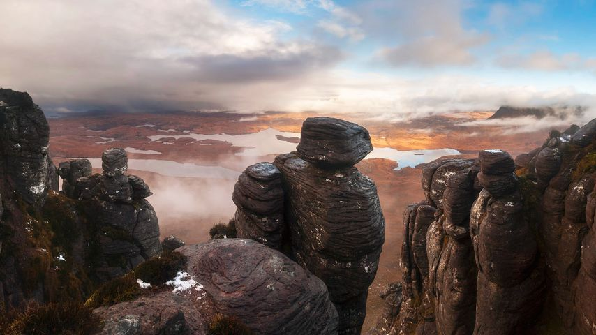View from Stac Pollaidh over Inverpolly in the Northwest Highlands of Scotland
