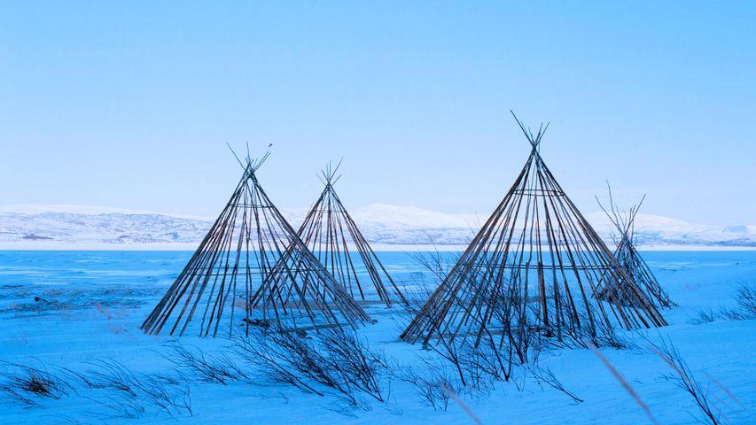 Segmente samischer Lávvu-Zelte, Finnmark, Norwegen