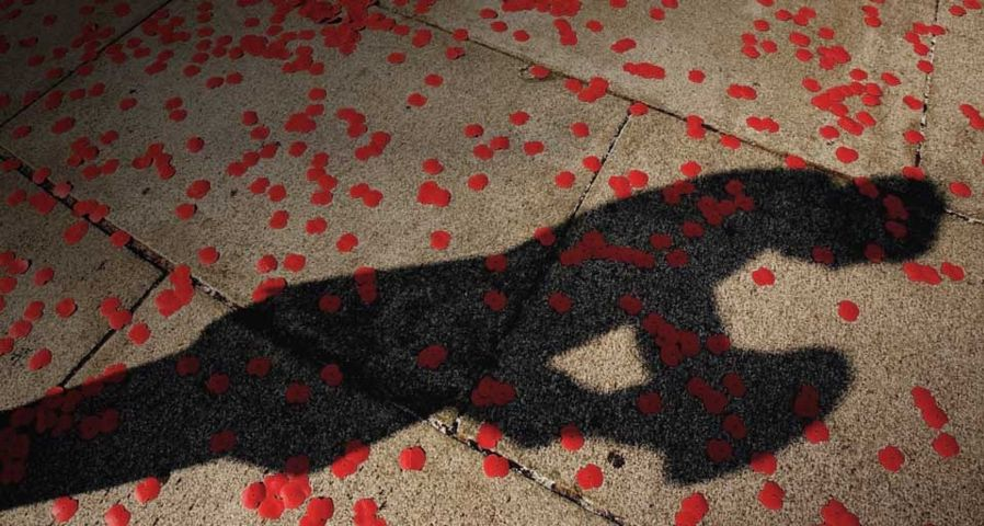 The shadow of a soldier is seen as poppies lie on the floor after the flypast over The Mall of British and US World War II aircraft