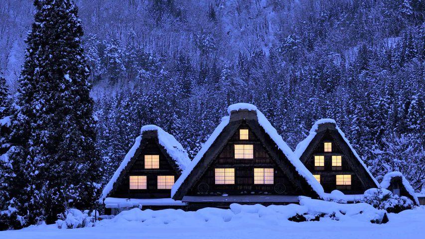 Maisons en style Gassho enneigées, village d'Ogimachi à Shirakawa-go, Japon