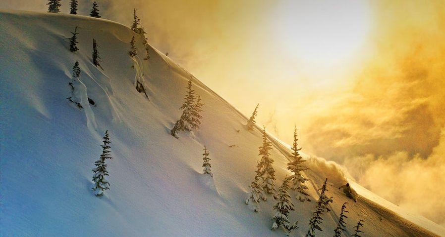 夕阳下的滑雪者