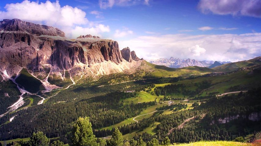 Gardena Pass and the Sella Group in the Dolomites, Italy