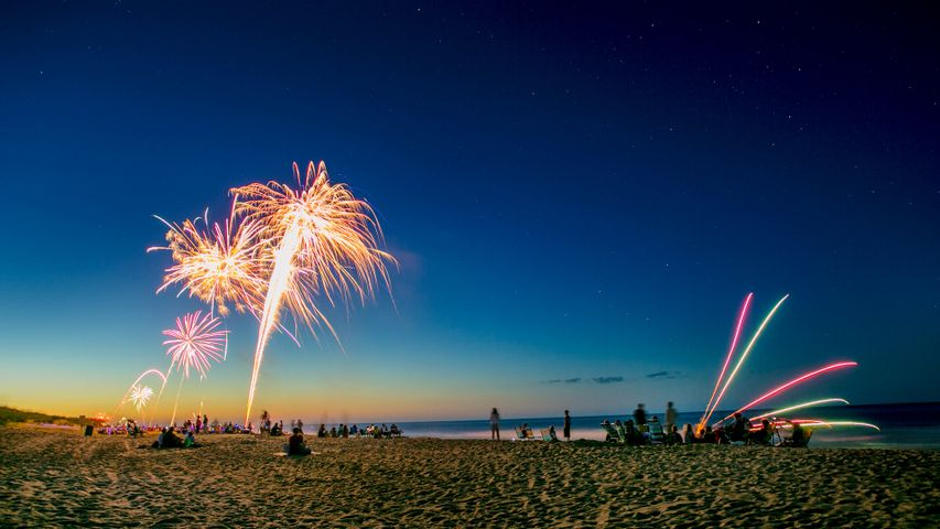 Fourth of July celebration on the beach, Outer Banks, North Carolina