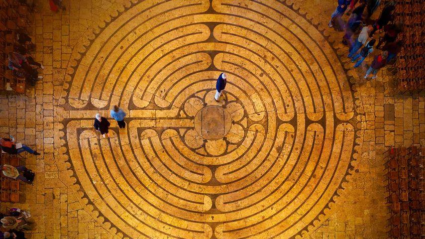 Labyrinth in der Kathedrale von Chartres, Frankreich