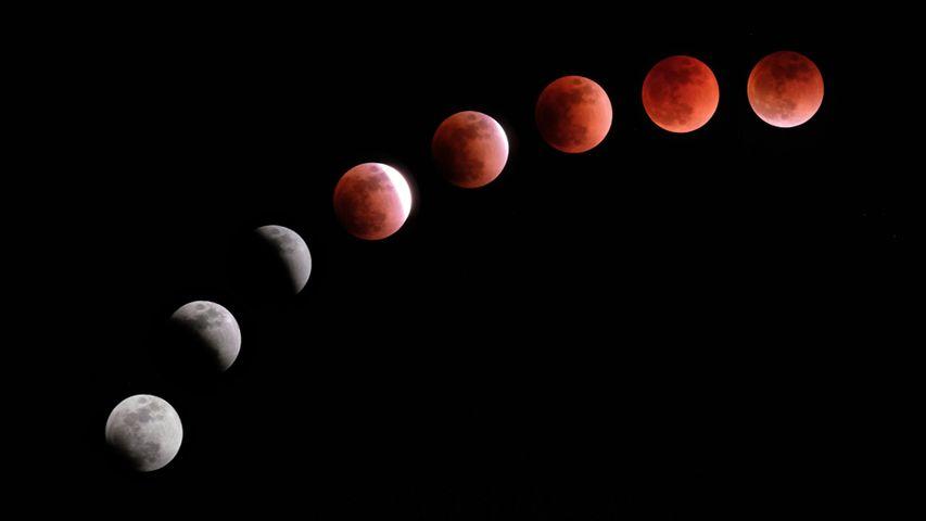 Composite image of a lunar eclipse
