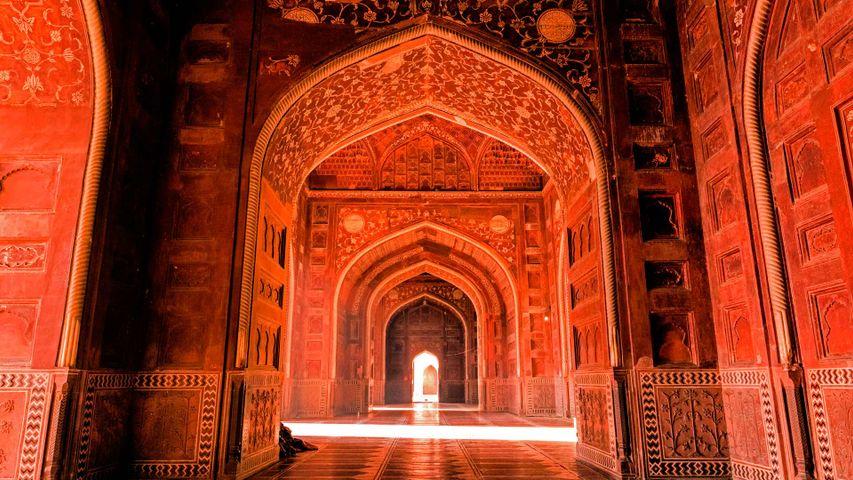 Beautiful light inside of the mosque, Near Taj mahal, Agra.