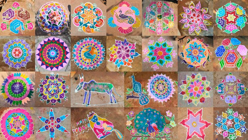 Composite photo of Kolams during Pongal