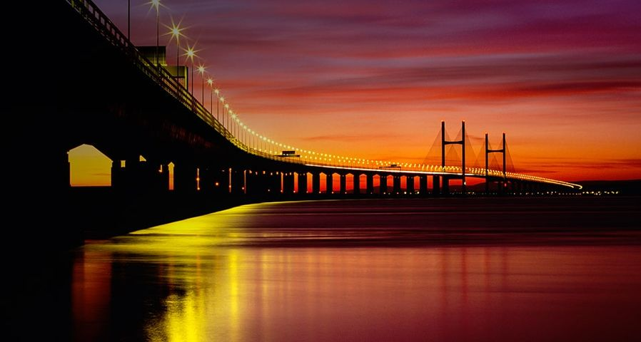 Second Severn Crossing as seen at dusk from Redwick