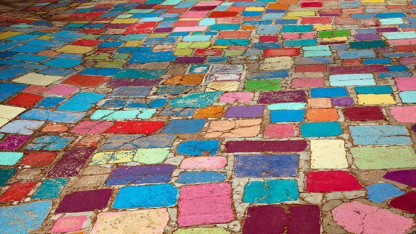 Multicolored cobblestones in the Spanish Village Art Center in Balboa Park, San Diego, California