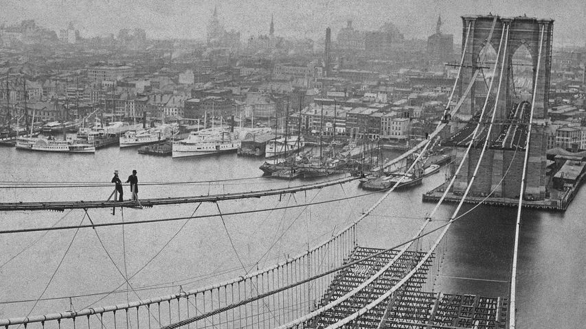 The Brooklyn Bridge under construction in 1883 New York