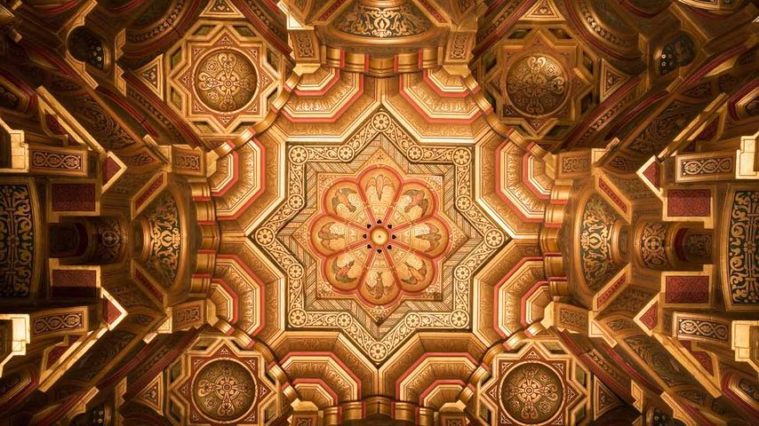 The ceiling of the Arab Room at Cardiff Castle