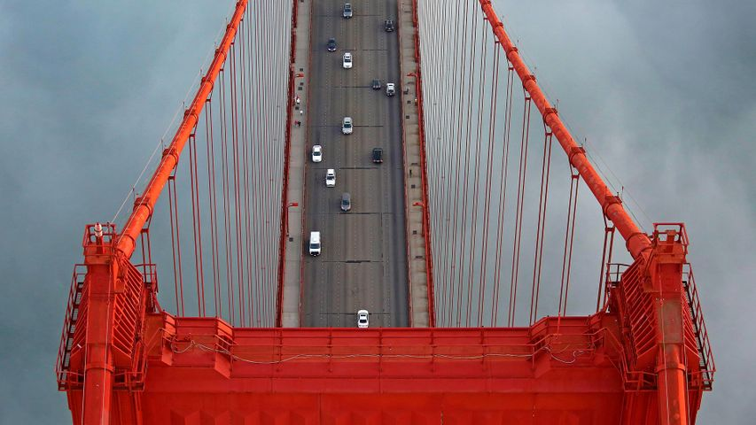 Bird's-eye view of the Golden Gate Bridge, San Francisco, California, USA