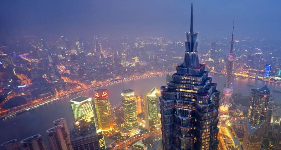 Jin Mao Tower and Huangpu River in Shanghai, China
