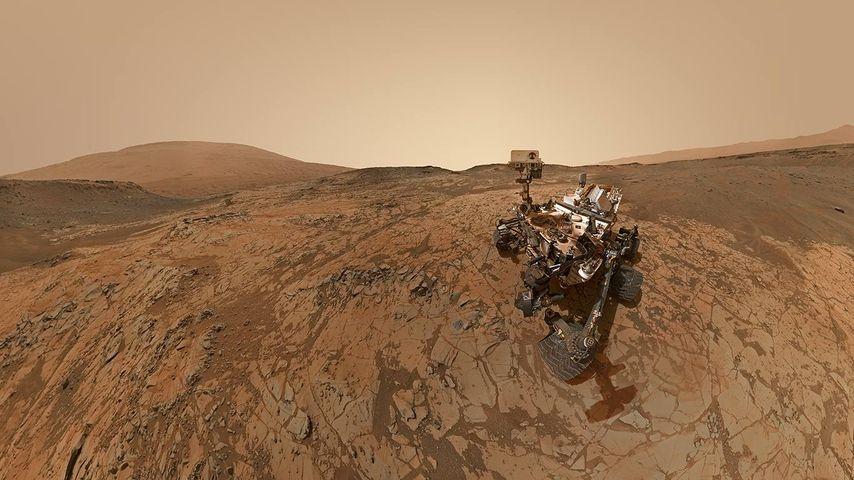 NASA's robotic rover Curiosity at Mount Sharp on Mars