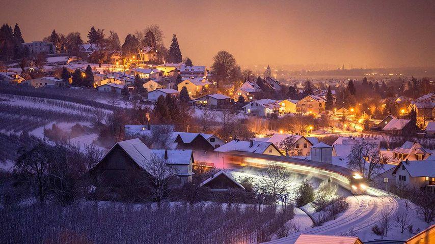Blick vom Hermannsberg nahe Bodolz, Bayern, Deutschland