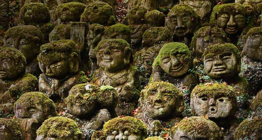 Stone statues in Otagi Nenbutsu-ji Temple in Kyoto, Japan
