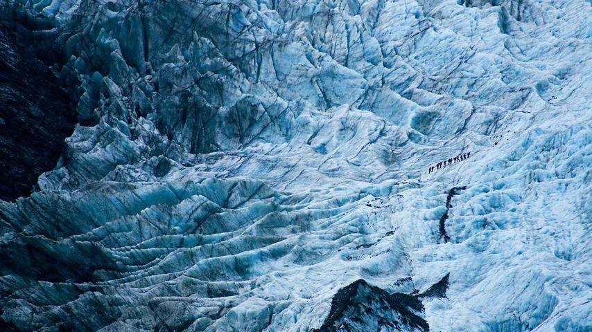 Randonneurs sur le glacier François-Joseph, Nouvelle-Zélande