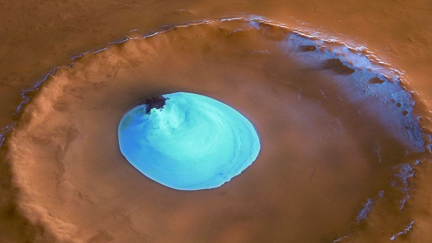 Ice in a crater of the Vastitas Borealis region of Mars