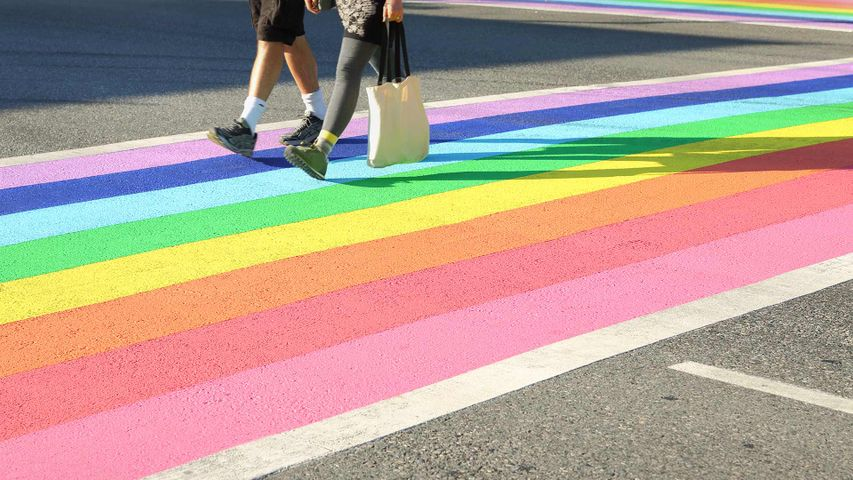 Vancouver's first permanently rainbow coloured crosswalk in downtown Vancouver