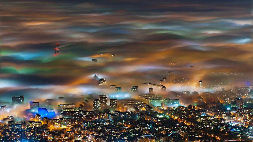 Fog over Sofia, Bulgaria